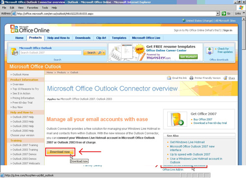 MICROSOFT HOTMAIL CONNECTOR FOR OUTLOOK 2007
