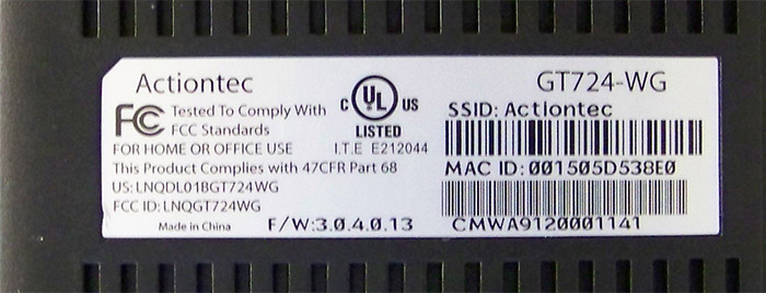 Router Ip Address >> Actiontec GT724WGR | MTS