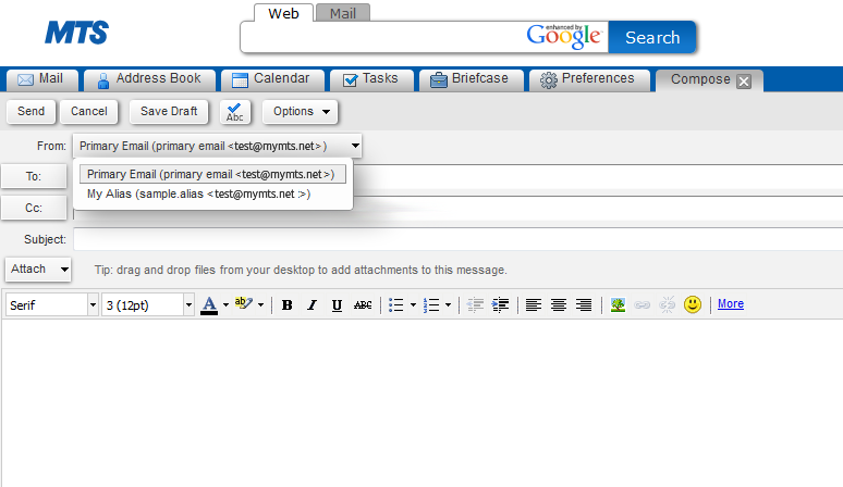 how to create an email address in mts