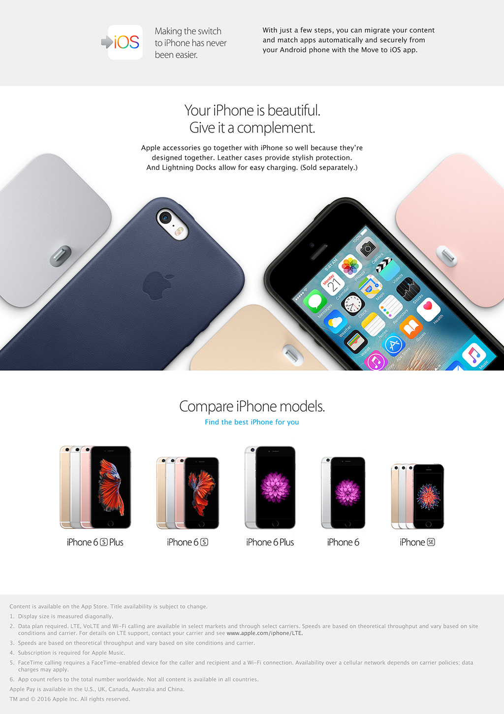 Comparison page for iPhone models